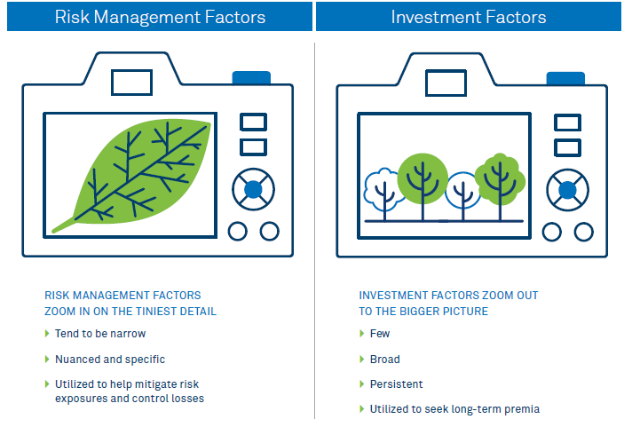 Factor investing vs factors in risk management